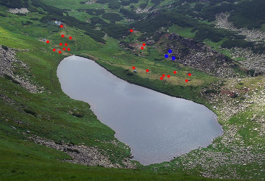 Червоним маркером відмічені найбільш засмічені ділянки навколо оз. Бребенескул станом на 11.07.10.