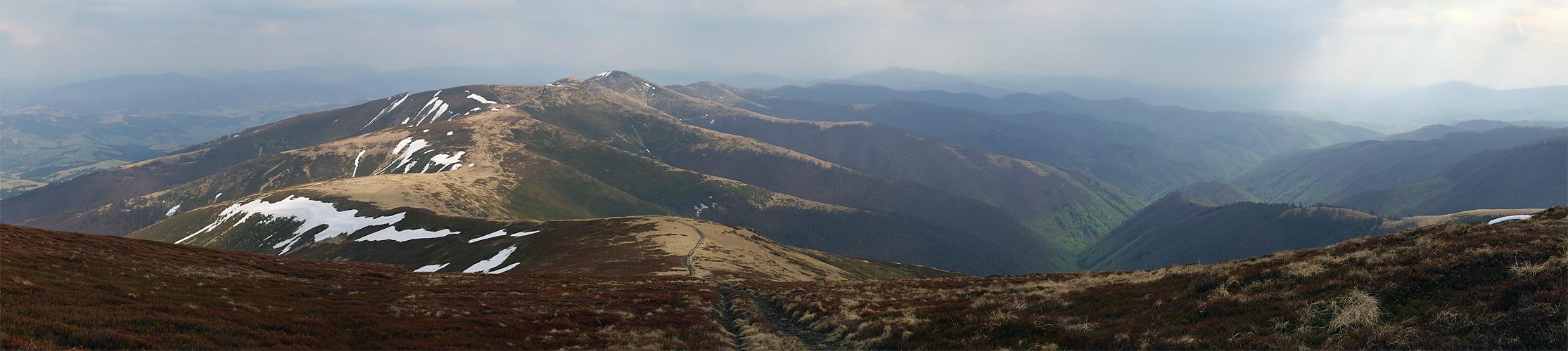 Полонина Боржава в конце апреля. Вид с горы Великий Верх (1598 м)