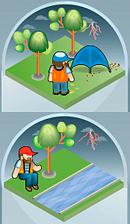 Не ховайтеся під деревом або в наметах. Не лягайте на землю та не заходьте у воду.