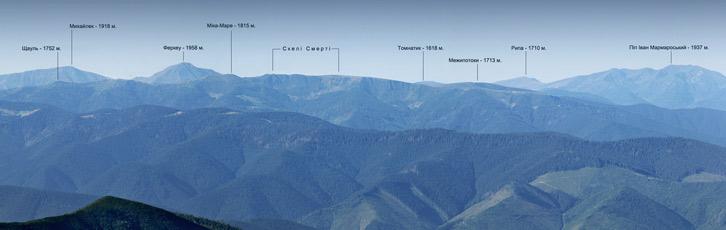 Мармароський масив (Гуцульські Альпи). Вид з гори Бребенескул