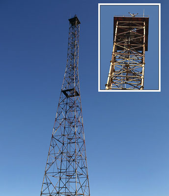 65 метрова вежа на горі Топас (1548 м над р.м.)