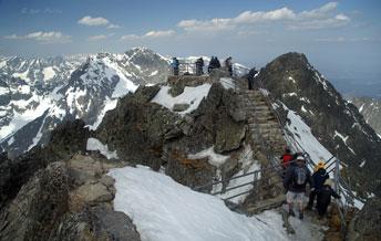 Оглядовий майданчик на вершині гори Ломницький Штіт - 2634 м (Lomnicky Stit) - друга за висотою вершина Високих Татр
